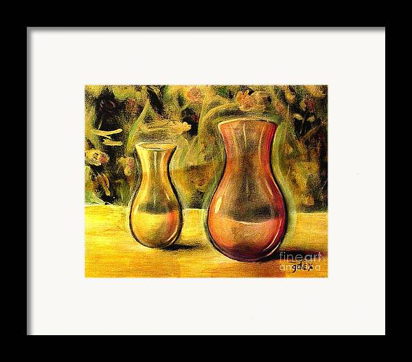 Framed Print featuring the painting Jaune Et Magenta by Gerald Dextraze