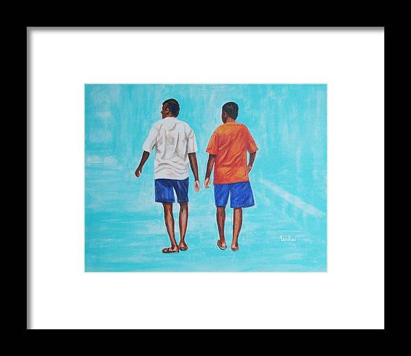 Framed Print featuring the painting Jay Walkers by Usha Shantharam