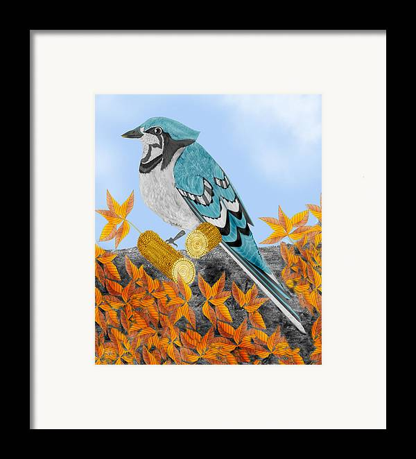 Jay Bird Framed Print featuring the painting Jay With Corn And Leaves by Anne Norskog