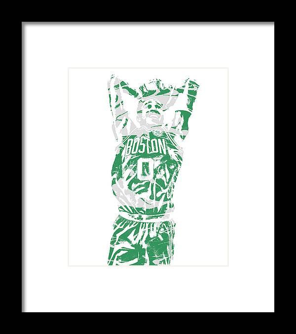 Jayson Tatum Framed Print featuring the mixed media Jayson Tatum Boston Celtics Pixel Art 12 by Joe Hamilton