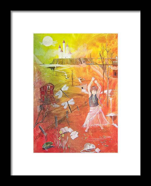 Gypsy Framed Print featuring the painting Jayzen - The Little Gypsy Dancer by Jackie Mueller-Jones