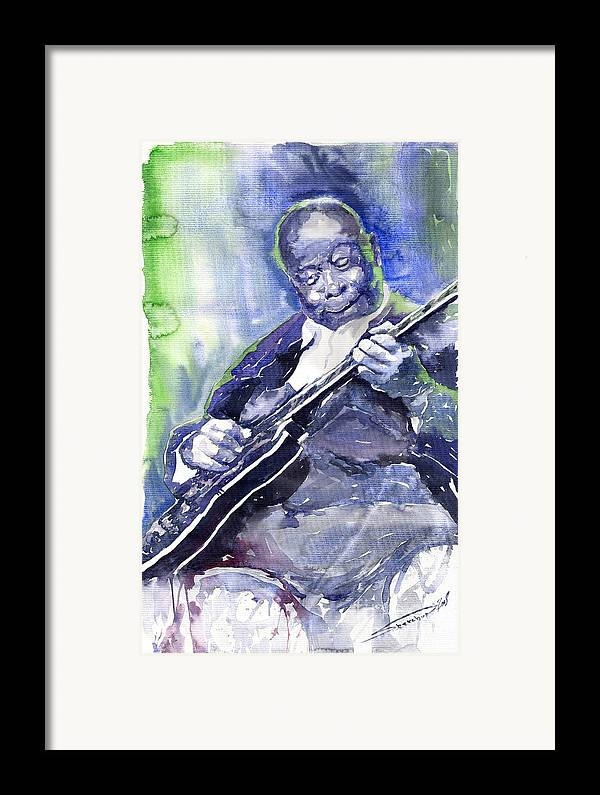 Jazz Framed Print featuring the painting Jazz B B King 02 by Yuriy Shevchuk