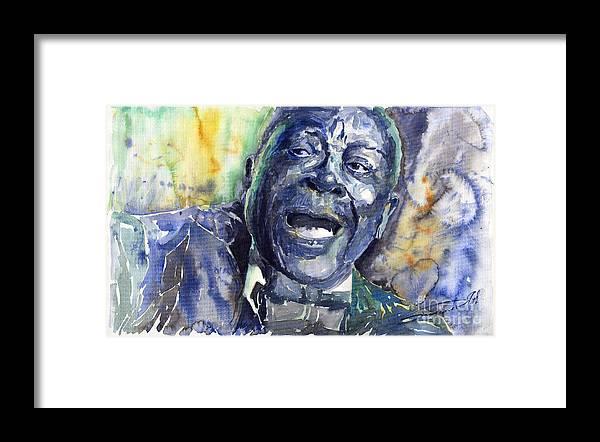 Jazz Framed Print featuring the painting Jazz B.B.King 04 Blue by Yuriy Shevchuk