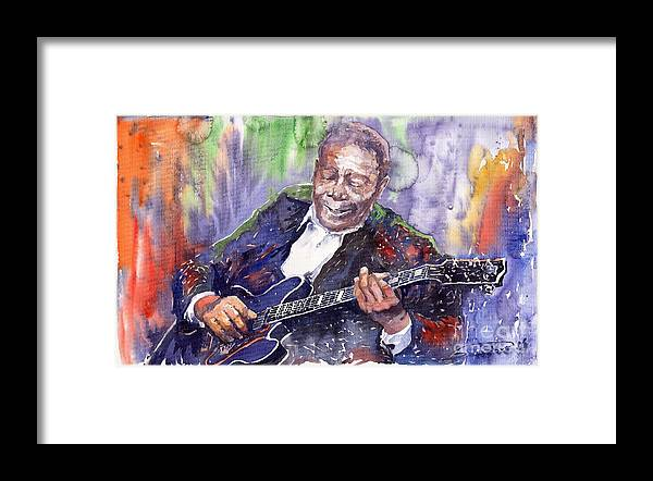 Jazz Framed Print featuring the painting Jazz B B King 06 by Yuriy Shevchuk