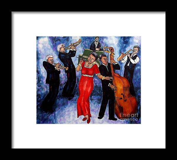 Jazz Framed Print featuring the painting Jazz Band by Linda Marcille