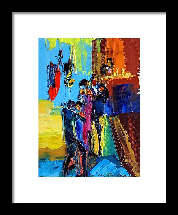 Artwork Framed Print featuring the painting Jazz Club by Maya Green