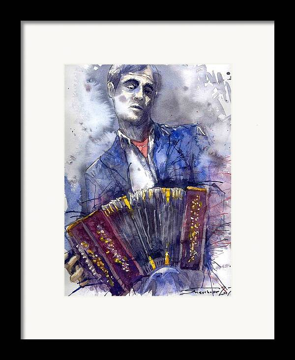 Jazz Framed Print featuring the painting Jazz Concertina Player by Yuriy Shevchuk
