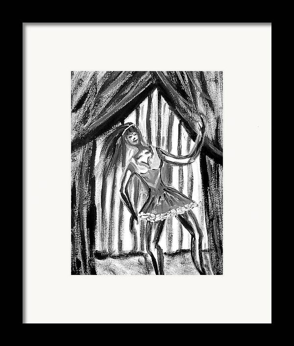 Dance Framed Print featuring the painting Jazz Dancer In Black And White by BJ Abrams