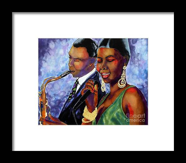 Silk Framed Print featuring the painting Jazz Duet by Linda Marcille