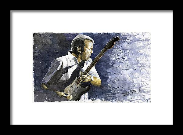 Eric Clapton Framed Print featuring the painting Jazz Eric Clapton 1 by Yuriy Shevchuk