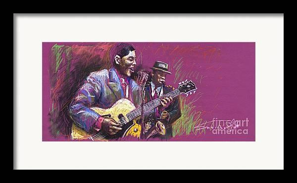 Jazz Framed Print featuring the painting Jazz Guitarist Duet by Yuriy Shevchuk