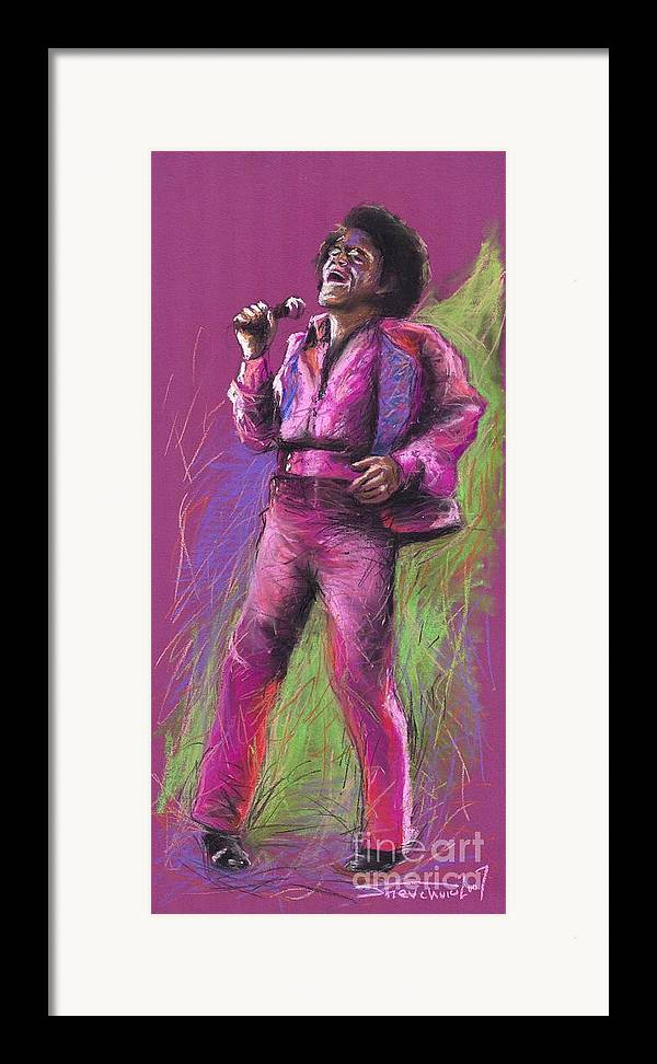 Jazz Framed Print featuring the painting Jazz James Brown by Yuriy Shevchuk