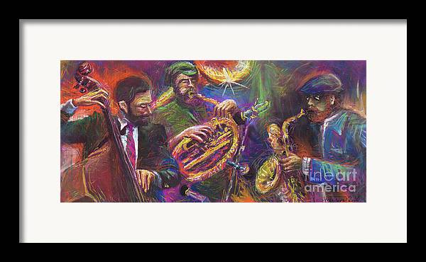 Jazz Framed Print featuring the painting Jazz Jazzband Trio by Yuriy Shevchuk