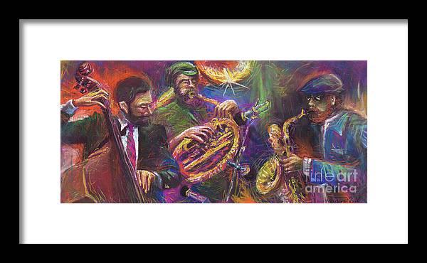 Jazz Framed Print featuring the painting Jazz Jazzband Trio by Yuriy Shevchuk