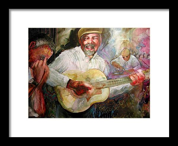 Music Framed Print featuring the painting Jazz Men In Phoenix by Wendy Hill
