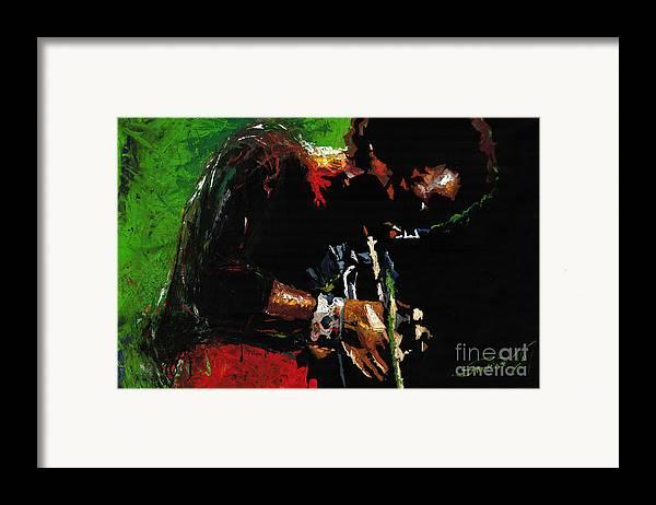 Jazz Framed Print featuring the painting Jazz Miles Davis 1 by Yuriy Shevchuk