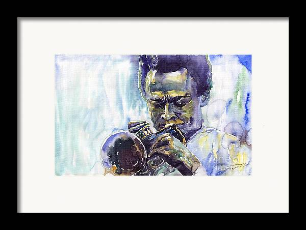 Jazz Miles Davis Music Musiciant Trumpeter Portret Framed Print featuring the painting Jazz Miles Davis 10 by Yuriy Shevchuk