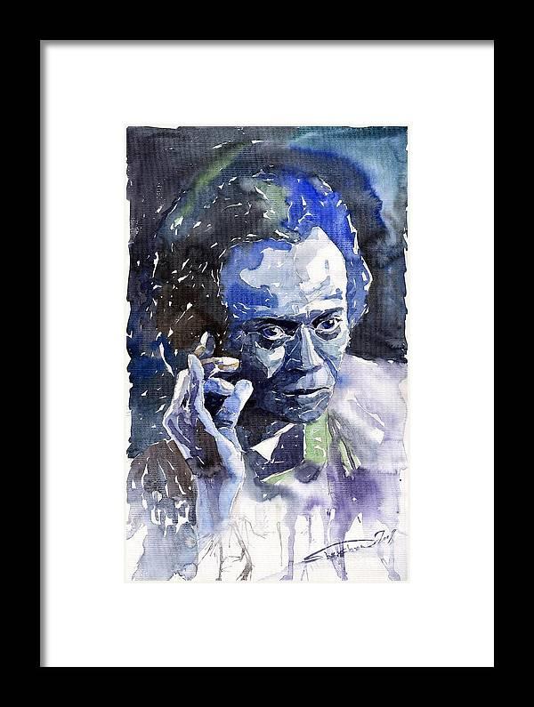 Jazz Framed Print featuring the painting Jazz Miles Davis 11 Blue by Yuriy Shevchuk