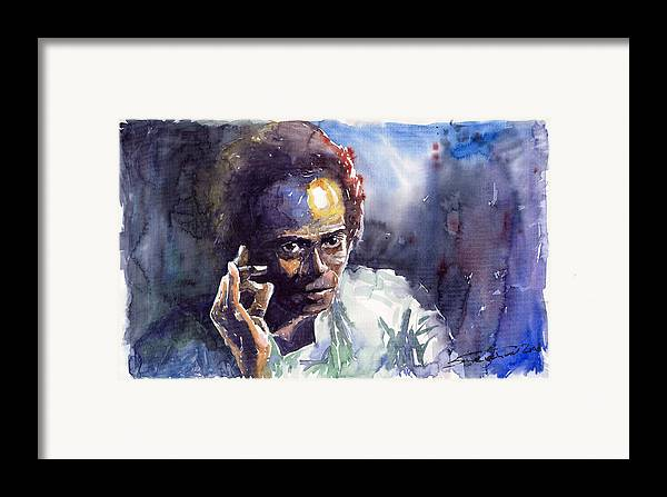 Jazz Watercolor Watercolour Miles Davis Portret Framed Print featuring the painting Jazz Miles Davis 11 by Yuriy Shevchuk
