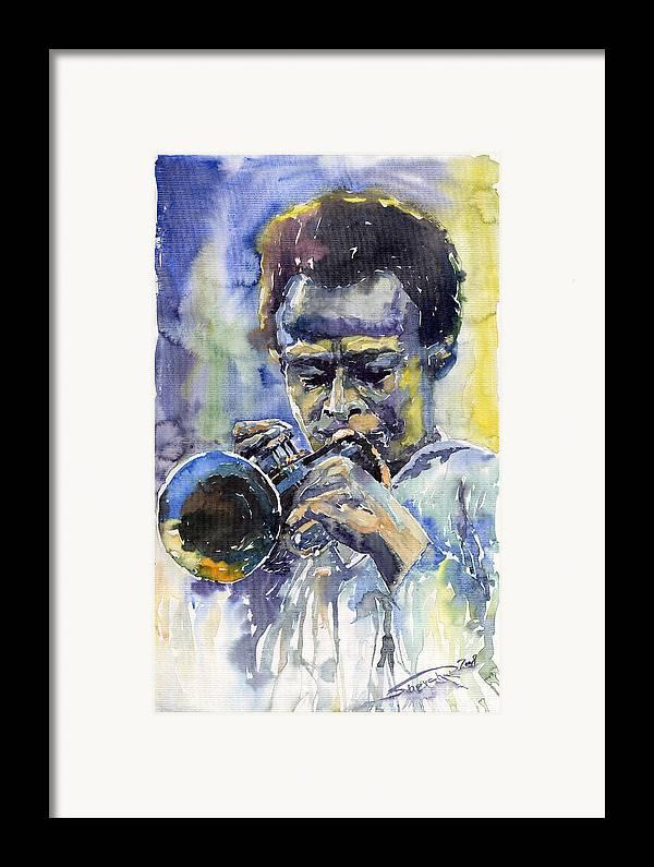 Jazz Framed Print featuring the painting Jazz Miles Davis 12 by Yuriy Shevchuk