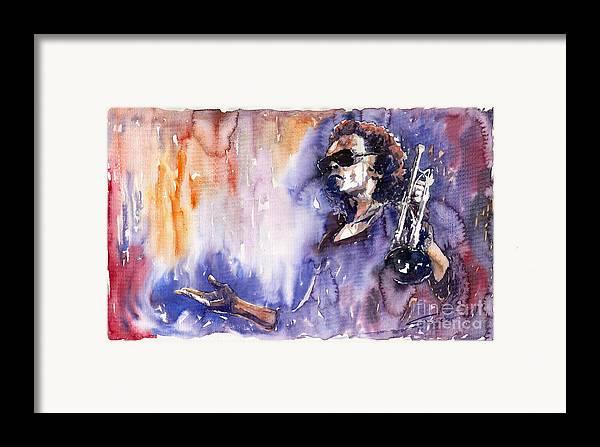 Jazz Framed Print featuring the painting Jazz Miles Davis 14 by Yuriy Shevchuk