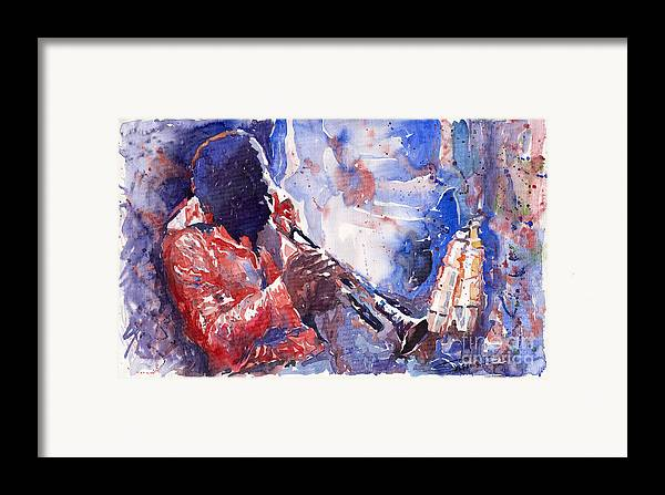 Jazz Framed Print featuring the painting Jazz Miles Davis 15 by Yuriy Shevchuk