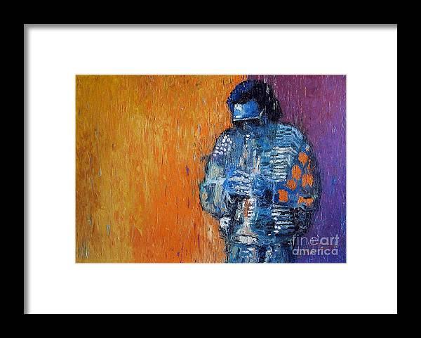 Jazz Framed Print featuring the painting Jazz Miles Davis 2 by Yuriy Shevchuk