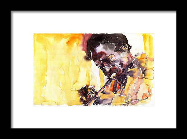 Jazz Music Watercolor Watercolour Miles Davis Trumpeter Portret Framed Print featuring the painting Jazz Miles Davis 6 by Yuriy Shevchuk