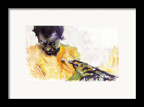 Davis Figurativ Jazz Miles Music Portret Trumpeter Watercolor Watercolour Framed Print featuring the painting Jazz Miles Davis 7 by Yuriy Shevchuk