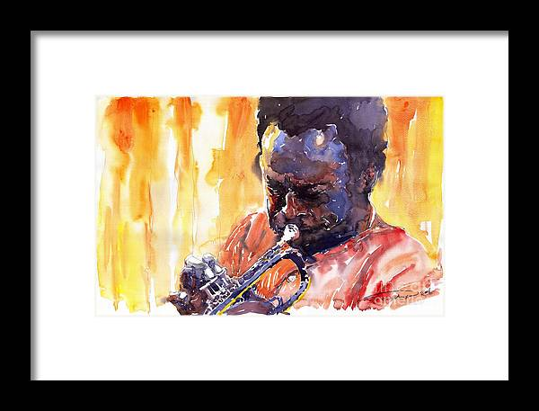 Jazz Miles Davis Music Watercolor Watercolour Figurativ Portret Trumpeter Framed Print featuring the painting Jazz Miles Davis 8 by Yuriy Shevchuk