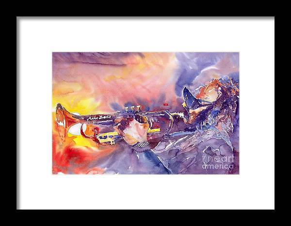 Jazz Watercolor Miles Davis Music Musician Trumpeter Figurative Watercolour Framed Print featuring the painting Jazz Miles Davis Electric 1 by Yuriy Shevchuk