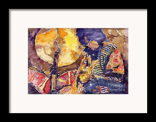 Miles Davis Figurative Jazz Miles Music Musiciant Trumpeter Watercolor Watercolour Framed Print featuring the painting Jazz Miles Davis Electric 2 by Yuriy Shevchuk
