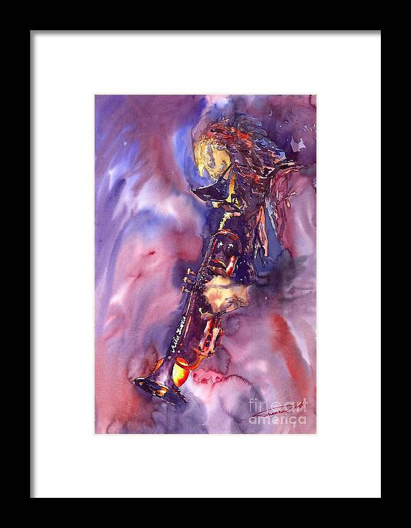 Davis Figurative Jazz Miles Music Musiciant Trumpeter Watercolor Watercolour Framed Print featuring the painting Jazz Miles Davis Electric 3 by Yuriy Shevchuk