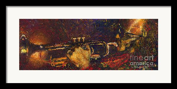 Jazz Framed Print featuring the painting Jazz Miles Davis by Yuriy Shevchuk