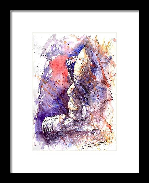 Portret Framed Print featuring the painting Jazz Ray Charles by Yuriy Shevchuk