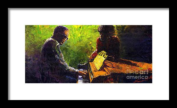 Jazz Framed Print featuring the painting Jazz Ray Duet by Yuriy Shevchuk