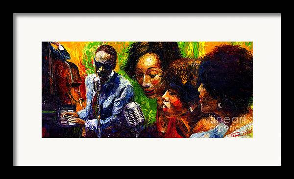 Jazz Framed Print featuring the painting Jazz Ray Song by Yuriy Shevchuk
