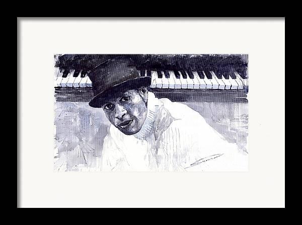 Jazz Framed Print featuring the painting Jazz Roberto Fonseca by Yuriy Shevchuk