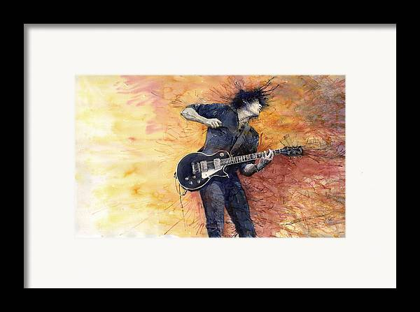 Figurativ Framed Print featuring the painting Jazz Rock Guitarist Stone Temple Pilots by Yuriy Shevchuk