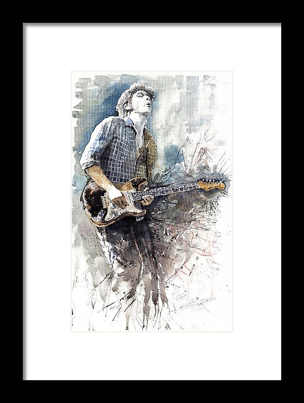 Jazz Framed Print featuring the painting Jazz Rock John Mayer 05 by Yuriy Shevchuk