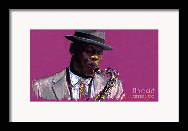Jazz Framed Print featuring the painting Jazz Saxophonist by Yuriy Shevchuk