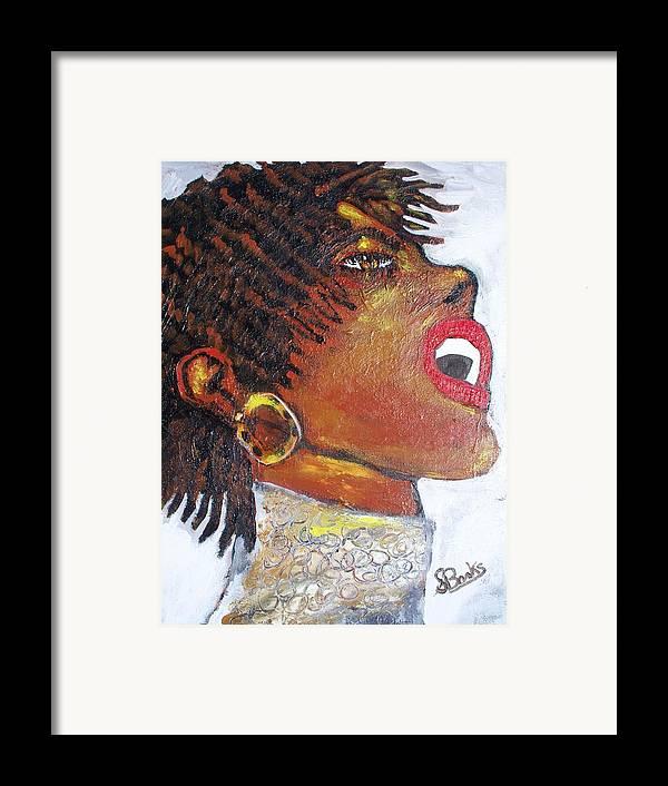 Jazz Singer Framed Print featuring the painting Jazz Singer Jade by Samuel Banks