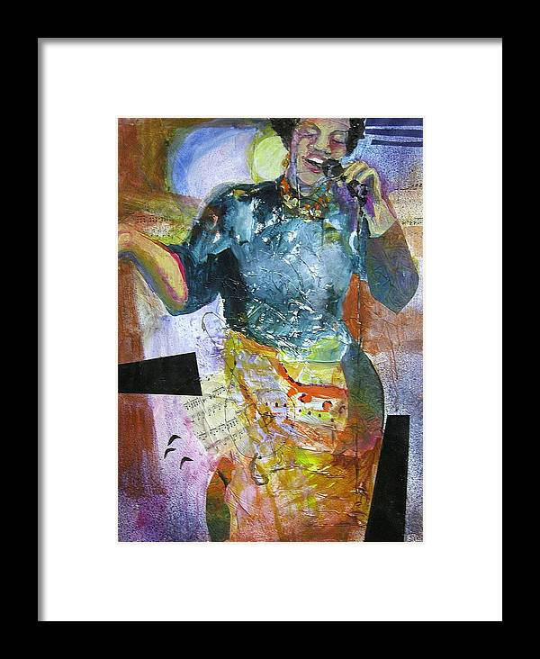 Jazz Framed Print featuring the painting Jazz Singer by Tricia PoulosLeonard