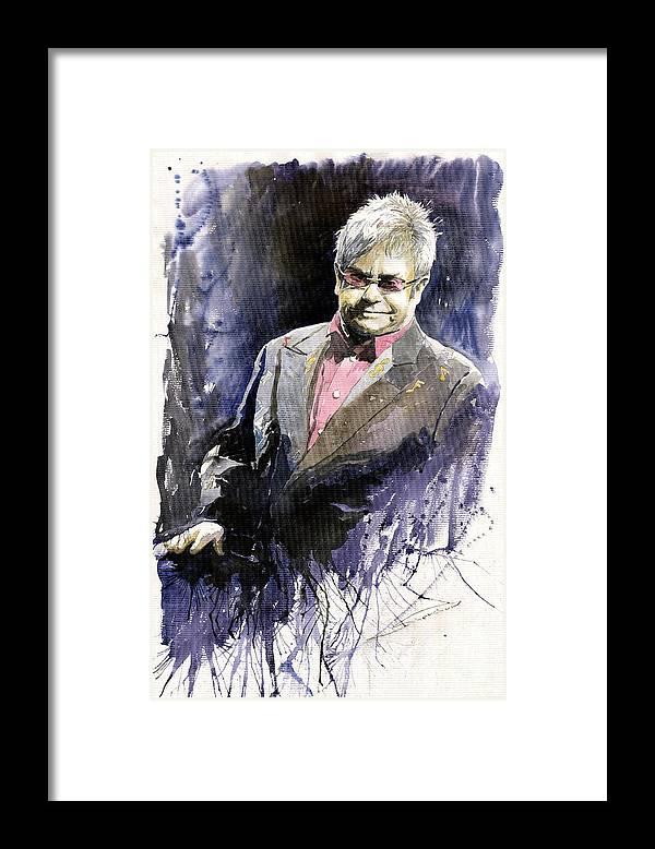 Watercolour Framed Print featuring the painting Jazz Sir Elton John by Yuriy Shevchuk