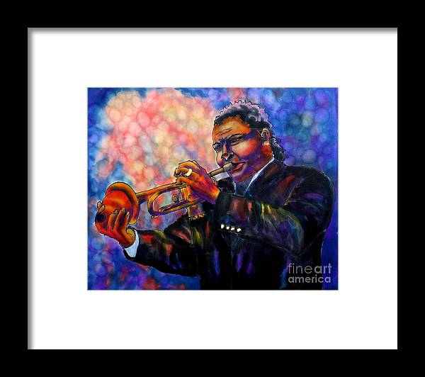 Trumpet Framed Print featuring the painting Jazz Solo by Linda Marcille