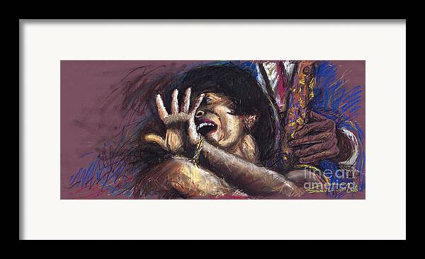 Jazz Framed Print featuring the painting Jazz Song 1 by Yuriy Shevchuk