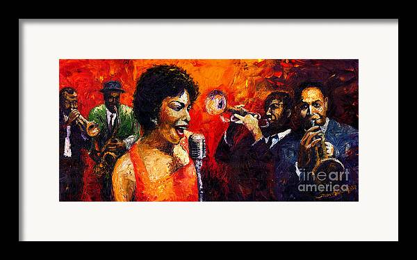 Jazz.song.trumpeter Framed Print featuring the painting Jazz Song by Yuriy Shevchuk
