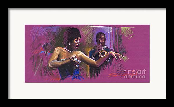 Jazz Framed Print featuring the painting Jazz Song.2. by Yuriy Shevchuk