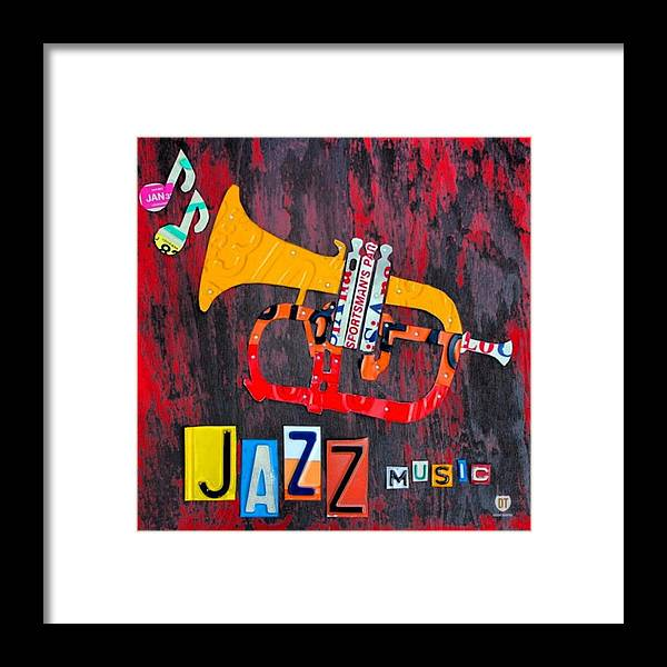 Licenseplate Framed Print featuring the photograph #jazz #trumpet #original #louisiana by Design Turnpike