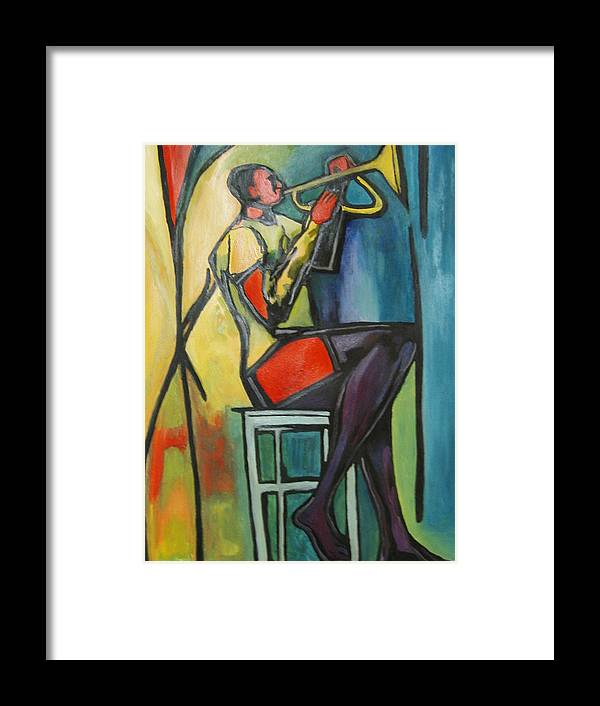 Abstract Framed Print featuring the painting Jazz Trumpet Player by Angelo Thomas